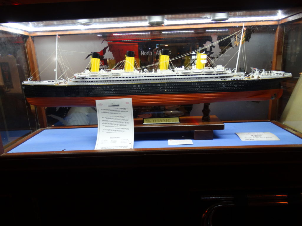 An Poitin Stil hosts many Titanic items including a model replica of the RMS Titanic.