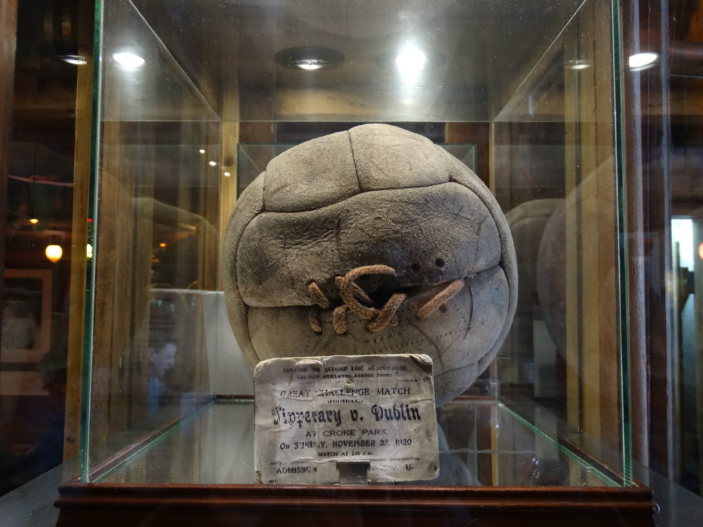 An Poitin hold the football from the Bloody Sunday match at Croke Park. This was a pivotal moment in Irish history.